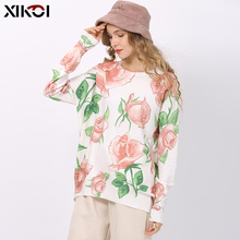 XIKOI Romantic Rose Print Knitted Sweater For Wome