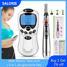 Laser Acupuncture Pen Electronic Meridian Energy Pen Electric TENS Machine TENS Unit with Electrode Pads Health Care Therapy