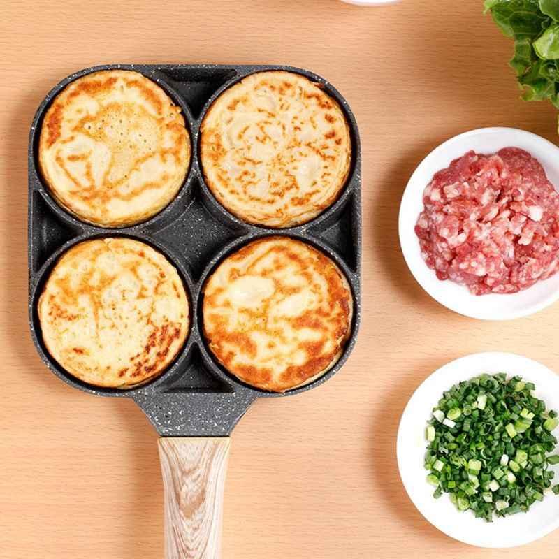 4 отверстия сковорода для омлета жарки горшок утолщенной с антипригарным покрытием Яйцо Блин стейк Пособия по кулинарии Пан и рисунком гамбургера и хлеб для аппарата для приготовления завтрака индукционная плита