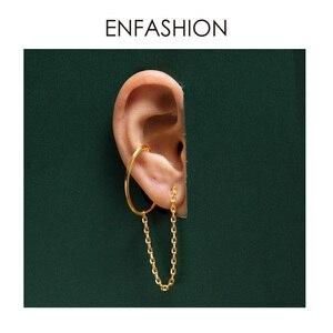 Image 3 - ENFASHION Punk C şekli zincir saplama küpe kadınlar için altın renk Minimalist bildirimi kulak manşet küpe moda takı E191091