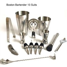 13 шт., шейкер из нержавеющей стали, миксер для вина, Мартини, комплект с Бостонским шейкером, барная посуда, набор для бармена, вечерние барные инструменты