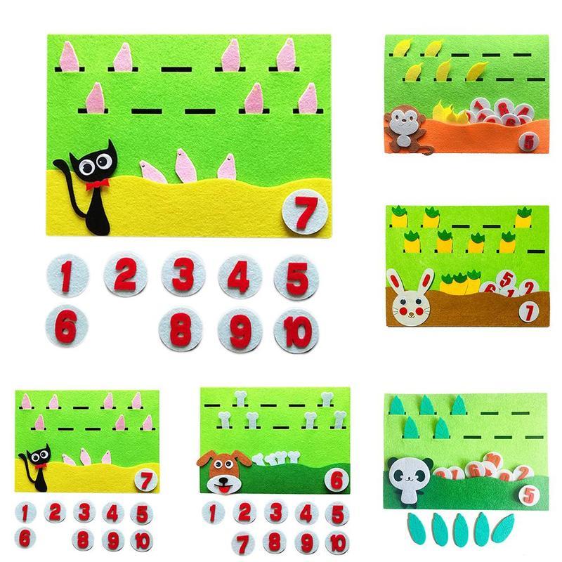 Enseñanza de las matemáticas SIDA animales comer comida rompecabezas bebé Jardín de educación temprana juguetes de enseñanza SIDA matemáticas juguete 20 tipo DIY de Control remoto inalámbrico de carreras de modelo Kit de madera para niños de ciencia física de juguete ensamblado juguete educativo de coche