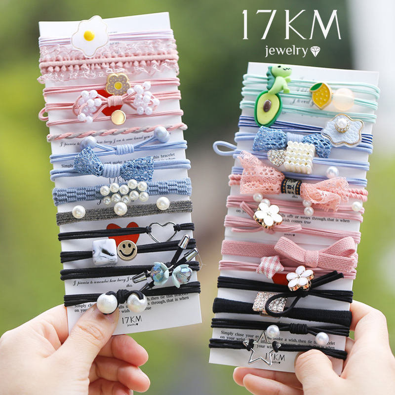 17KM New Women Girls Basic Knot Pearls Elastic Hair Bands Pink Scrunchies Ponytail Holder Headbands Hair Accessories Set Gift