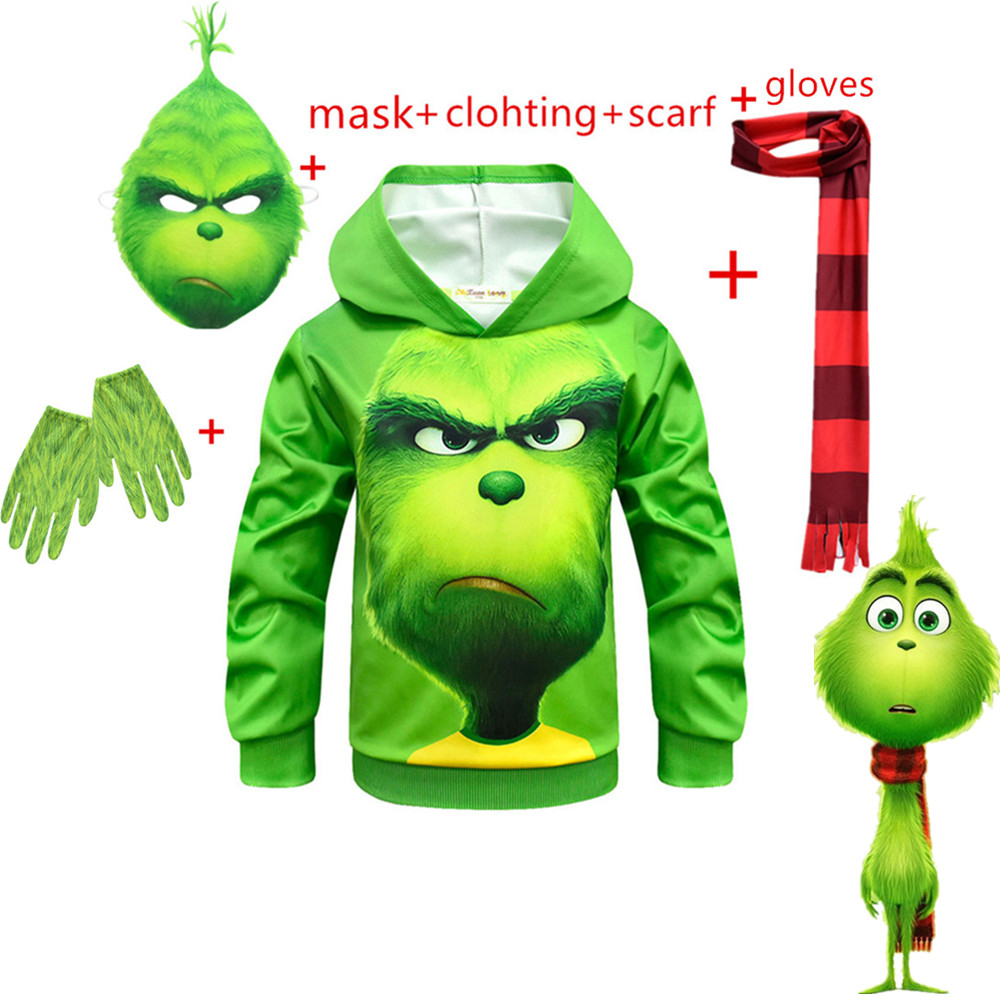 2019 How The Grinch Stole Christmas Grinch Halloween Party Cosplay Costume Kids Hooded Christmas Grinch Zipper Sweatshirt Jacket