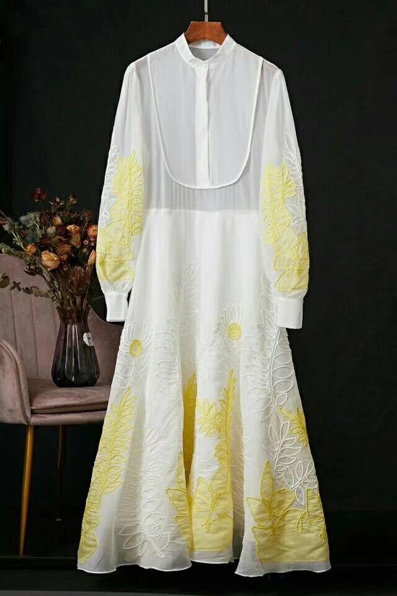 Long Dress Embroidery Fashion Runwy O-Neck Long Sleeve Casual Dress