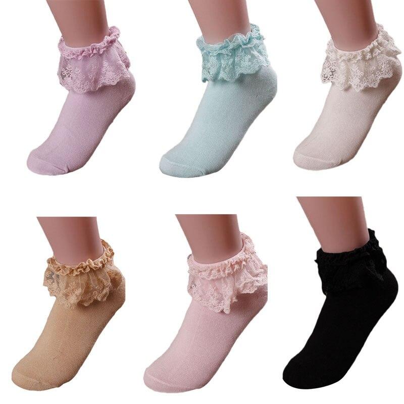 2019 Women's Socks Lovely Cute Fashion Women Vintage Lace Ruffle Frilly Ankle Socks Lady Princess Girl Favorite 5 Color