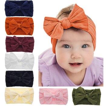 New Baby Girls Solid Bow Cute Headbands Turban Toddler Fashion Hairbands Kids Headwear opaska dla dziewczynki 2020