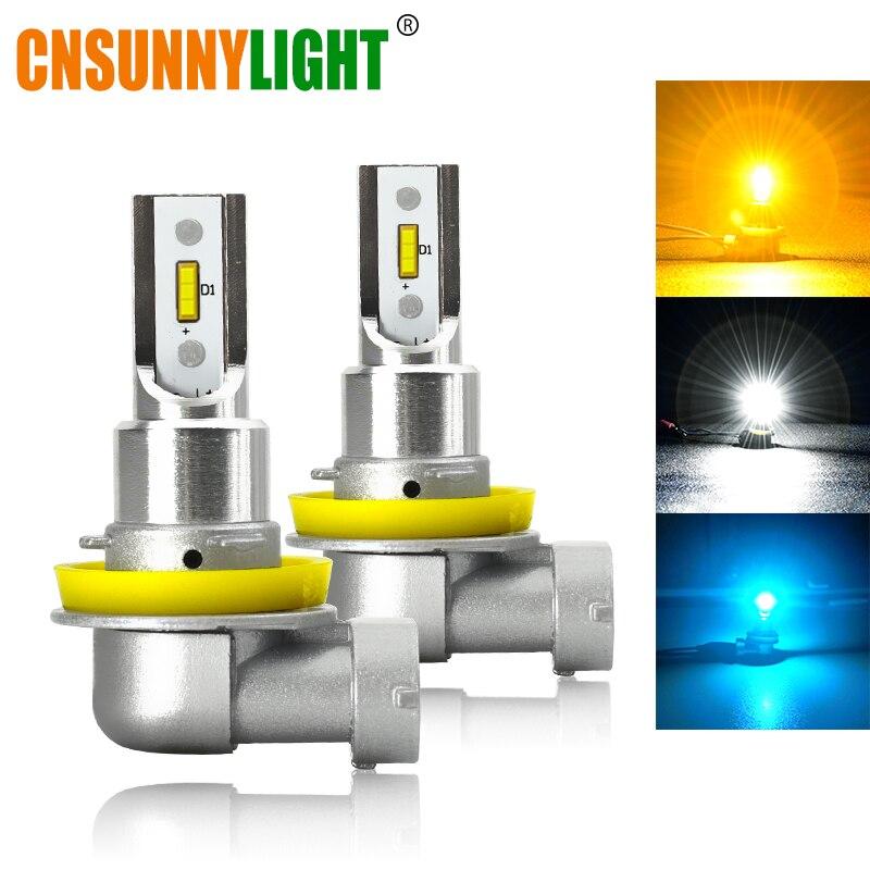 CNSUNNYLIGHT Car LED Head Fog Bulbs H11 H8 9005 9006 12W/Bulb 2400Lm 3000K Yellow 6000K White Auto Lamp Plug Play Fog Lights