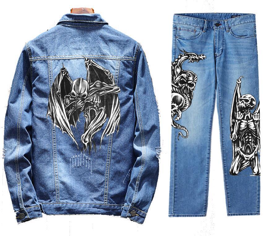Men's Retro Destroyed Coat Jean Denim Jacket Outerwear Pants Trousers Set Death Coat Blue 2PC