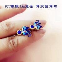 925 silver plated elephant lapis lazuli earrings cloisonne enamel jewelry earrings