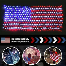 390 LEDs Net String Lights Outdoor DIY American National Flag Mesh Lamps Copper Wire Pendant Lights for Christmas Xmas New Year