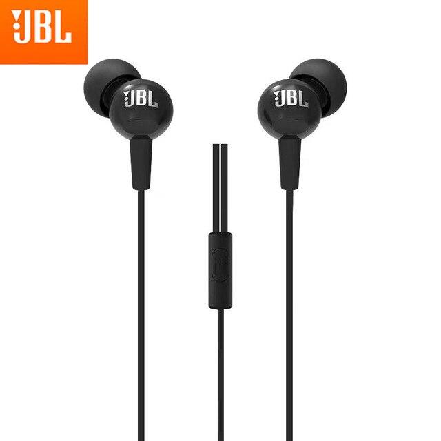 Jbl c100si original 3.5mm com fio fones de ouvido estéreo graves profundos esportes música fone de ouvido fone de ouvido esportes chamada mãos livres com microfone