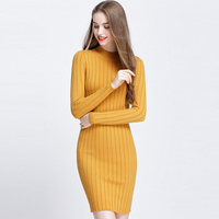 WYWAN New Mock Neck Long Knitting Sweaters Women Spring Autumn Knitted Sweater Long Sleeve Pullovers Tunic women Sweater