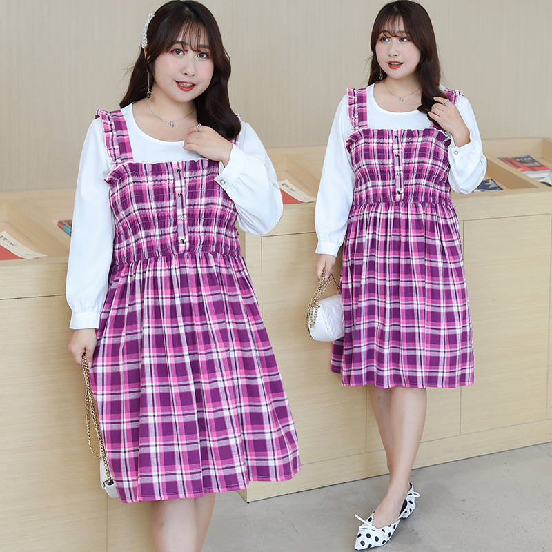 [Xuan Chen] Fat Mm College Style Sweet Plaid Vest Skirt Summer New Style Plus-sized Slimming Skirt On Behalf Of W028