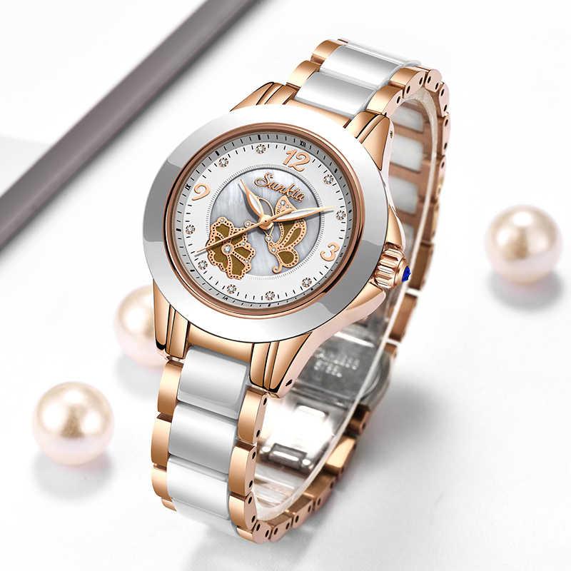 SUNKTA montre de luxe en cristal pour femmes Bracelet en acier Rose imperméable à l'eau pour femmes montres Bracelet de marque supérieure horloge Relogio Feminin