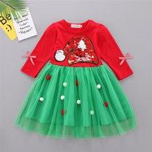 Новинка детская одежда Осенние сетчатые платья для девочек рождественские