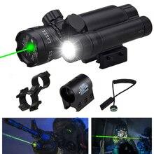 Montura táctica láser de caza, punto verde, mira para Rifle, pistola, 20mm, Airsoftsport, Riel y barril, montaje de interruptor de presión