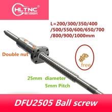 25mm DFU RM 2505 볼 스크류 L200/300/350/400/500/550/600/650/700/800/900/1000mm BKBF20 + CNC 용 더블 너트 XZY
