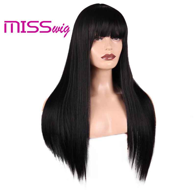 MISS WIG Long Straight Light  Wig For Women African American Synthetic Wigs With Bangs Heat Resistant