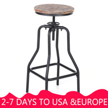 iKayaa Bar Chairs Metal Industrial Vintage Bar Stool Height Adjustable Swivel Pinewood Top Retro Kitchen Dining Chair Pipe(China)