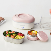 220V Electric Lunch Box Double Stainless Steel Liner Rice Cooker Portable Steam Heat Electric Cooking Pot Vacuum preservation