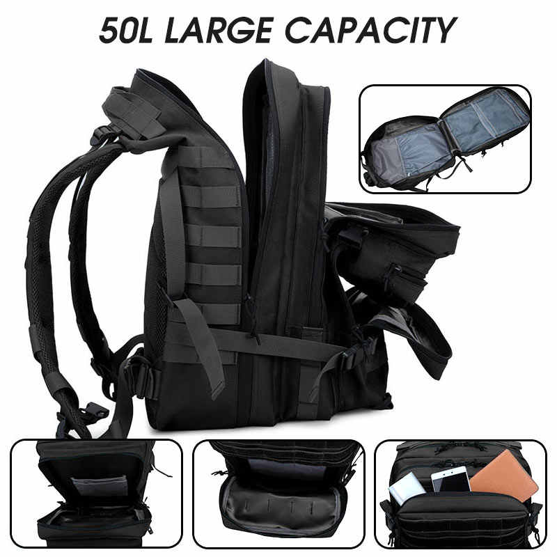 50L büyük askeri kapasiteli adam ordu taktik sırt çantaları açık 3P su geçirmez paketi yürüyüş kamp avcılık saldırı spor çantaları