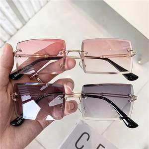 Vintage Glasses Pink Lens Rimless Gradient Design Luxury Brand UV400 Women Q1966 Lady