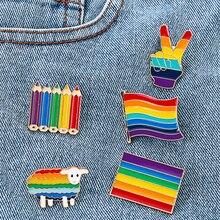 Модная Радужная брошь в виде флага гордости, эмалированные булавки, милые ЛГБТ жесты, броши, значки, джинсовая эмаль, бриллиантовая брошь дл...