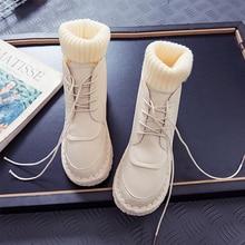 Women Snow Boots Warm Plush Slip On Fur Winter 2019 New Fashion Ankle Brown Platform