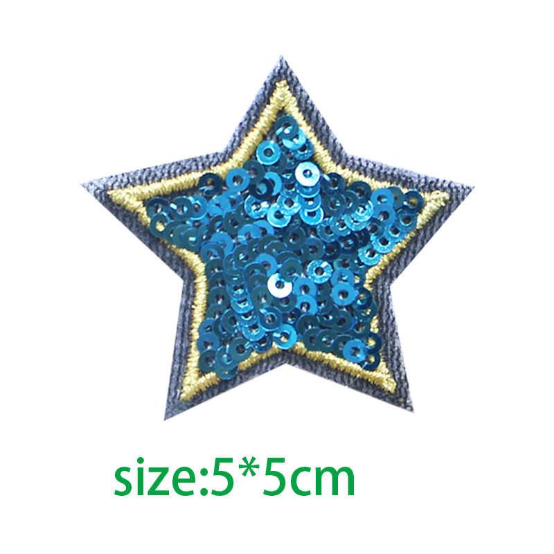 1 قطعة النجوم جوفاء الترتر ستار التصحيح بريق نجوم ملصقات Fabric بها بنفسك النسيج يزين المطرزة الحديد على معاطف الجينز السراويل شارات