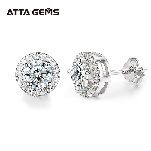 EF Round Cut Total 0.5ct Diamond Test Passed Moissanite Rhodium Plated 925 Silver Moissanite Earrings Jewelry Girlfriend Gift