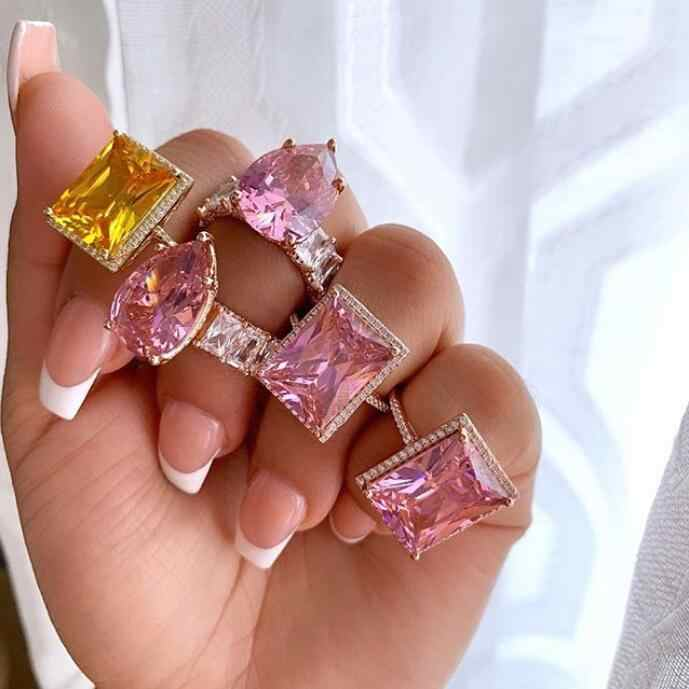 2020 แฟชั่นสีชมพู Pinky Water DROP Accent Stone Rose Gold เจ้าหญิงตัดเต็มรูปแบบ CZ งานแต่งงานแหวนหมั้นสำหรับสตรี