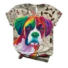 Plus Size Women Short Sleeve 3D Pet Dog Printed O-Neck Tops