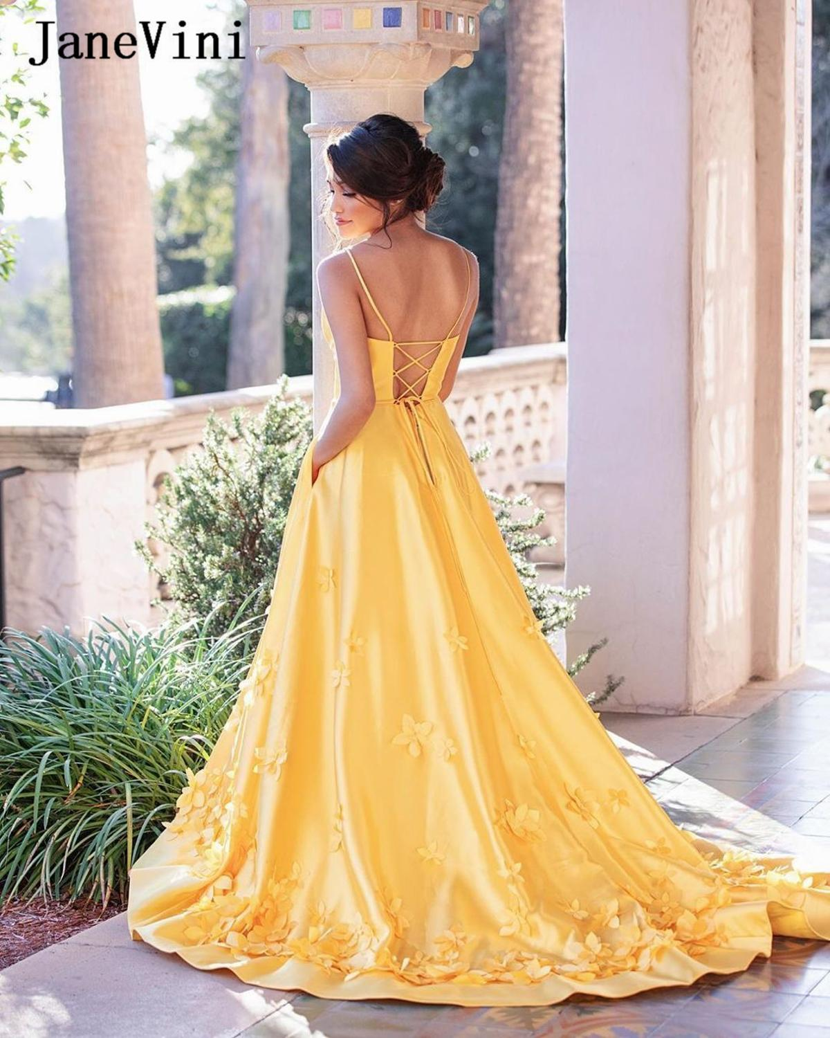 JaneVini Elegant Satin Yellow Long Prom Dresses Spaghetti Straps 3D Flowers Backless A Line Sweep Train Formal Women Party Gowns