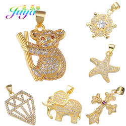 Juya DIY Jewelry Charms Supplies Micro Pave Zircon Animal Elephant Cross Sloth Charms For Fashion Necklace Bracelets Making