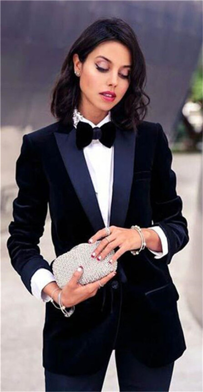 Navy Velvet 2 Piece Women  Suit Female Business Suit Blazer Women PantSuits Tuxedos Suits For Wedding Blazer Pants Jacket Formal