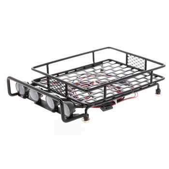 RC Car Universal Roof Rack Luggage Carrier With 4 Round LED Lights for 1/10 RC Rock Axial SCX10 D90 TRX-4 Model Car Accessories image