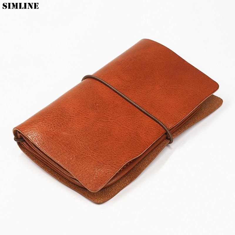 SIMLINE Genuine Leather Men Wallet Clutch Bag Vintage Handmade Long Purse Organizer Travel Wallets Passport Card Holder For Male leather