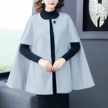 HAMALIEL, женская накидка оверсайз, шаль, твидовое шерстяное пальто, высокое качество, Осень-зима, серый, рукав летучая мышь, шерстяной Свободный плащ, верхняя одежда