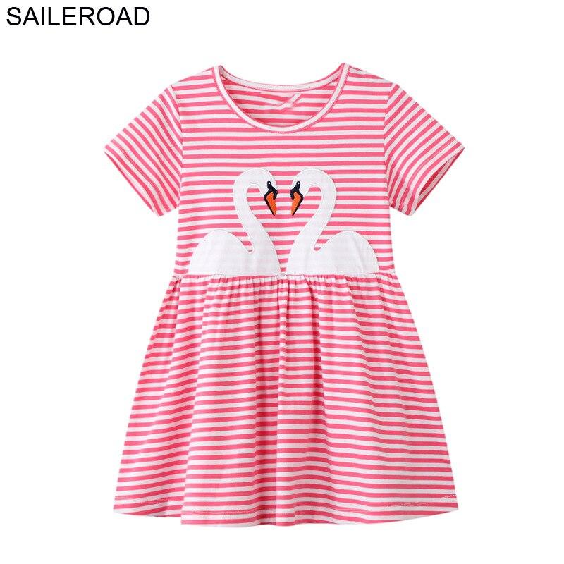 SAILEROAD Dress 2021 Summer Girls Tops Dresses Animal Baby Girls Clothes Dress Kids Cotton Zebra Print Short Sleeve Dress 5