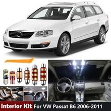 16 Uds blanco Canbus Iluminación LED Interior de coche Kit para Volkswagen VW Passat B6 3C 2006-2011 sedán carro mapa cúpula lámpara del tronco