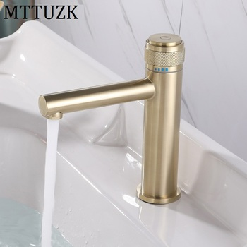 MTTUZK Solid Brass Brushed Gold Bathroom Basin Faucet Cold Hot Mixer Taps Deck Mounted Sink Faucet Black Crane