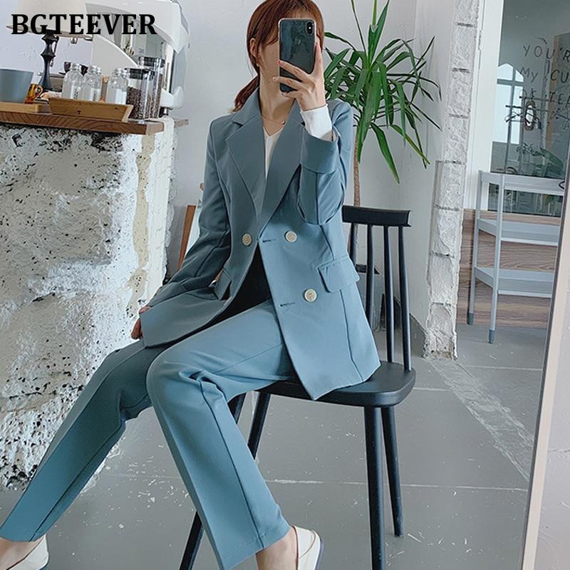 BGTEEVER Chic Blue Women Pant Suit Double-breasted Jacket & Pencil Pant Women Blazer Suit Set Female Workwear Trouser Suit 2019