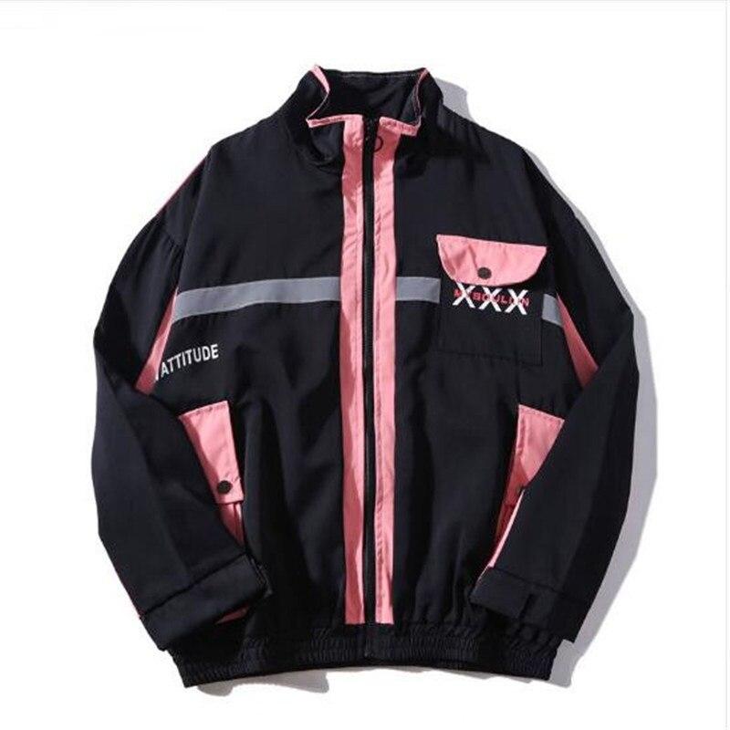 ICPANS Side Pockets 3M Reflective Windbreaker Track Jackets Streetwear Mens 2019 Hip Hop Full Zip Stripe Coats Fashion Male in Jackets from Men 39 s Clothing