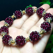 Natural Garnet Bracelet Grape Loose Stone Bracelets for Women Wine Red Bead Charm Bracelet Woman Fashion Jewelry Pulseras Mujer 2018 new natural stone beads crown bracelet for women men couple jewelry stretch bead distance charm bracelets bangles pulseras