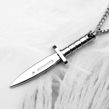 HNSP Titanium steel dagger knife pendant necklace For Men Male Personality jewelry