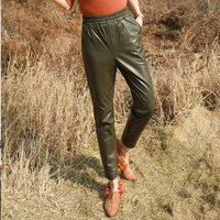 Early genuine leather pants women elastic waist ankle length pants slim fit full leather pencil pants elegant sheep leather