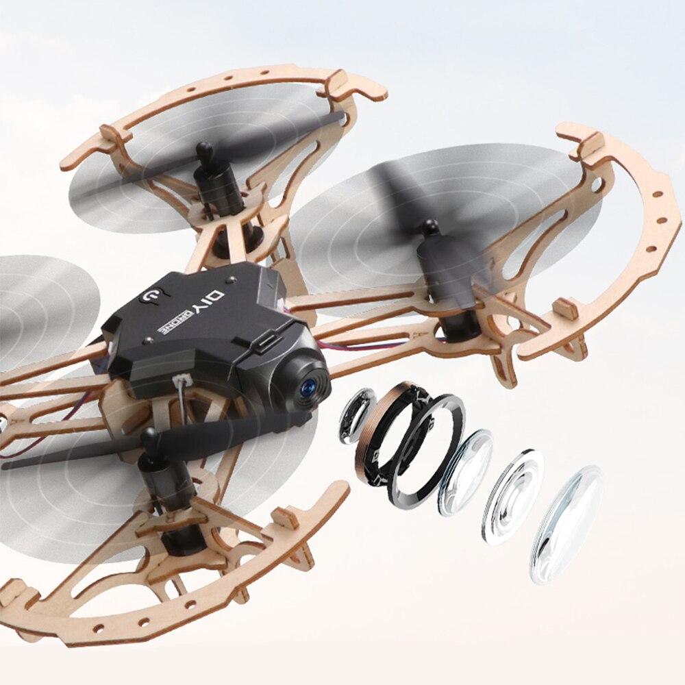 Enfants enfant en bois Drone poche course RC en bois assemblé quadrirotor avec caméra HD 2.4GHz télécommande jouets Drone Kit - 4