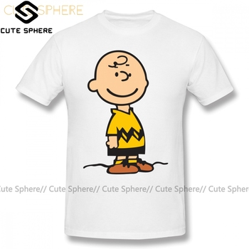 цена Charlie Brown T Shirt Charlie Brown Merchendise T-Shirt Short Sleeves Cute Tee Shirt Plus size Printed 100 Percent Cotton Tshirt онлайн в 2017 году