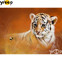 Full Square/round Drill Diamond Painting Cross stitch Tiger in the wild Diamond Embroidery Rhinestone Mosaic Decor Gift EX0654(China)